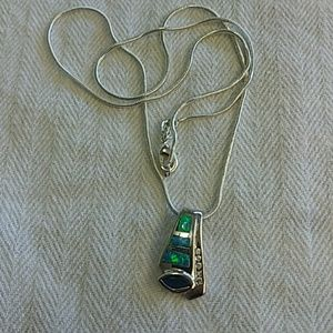 Sterling 925 opal and amethyst necklace